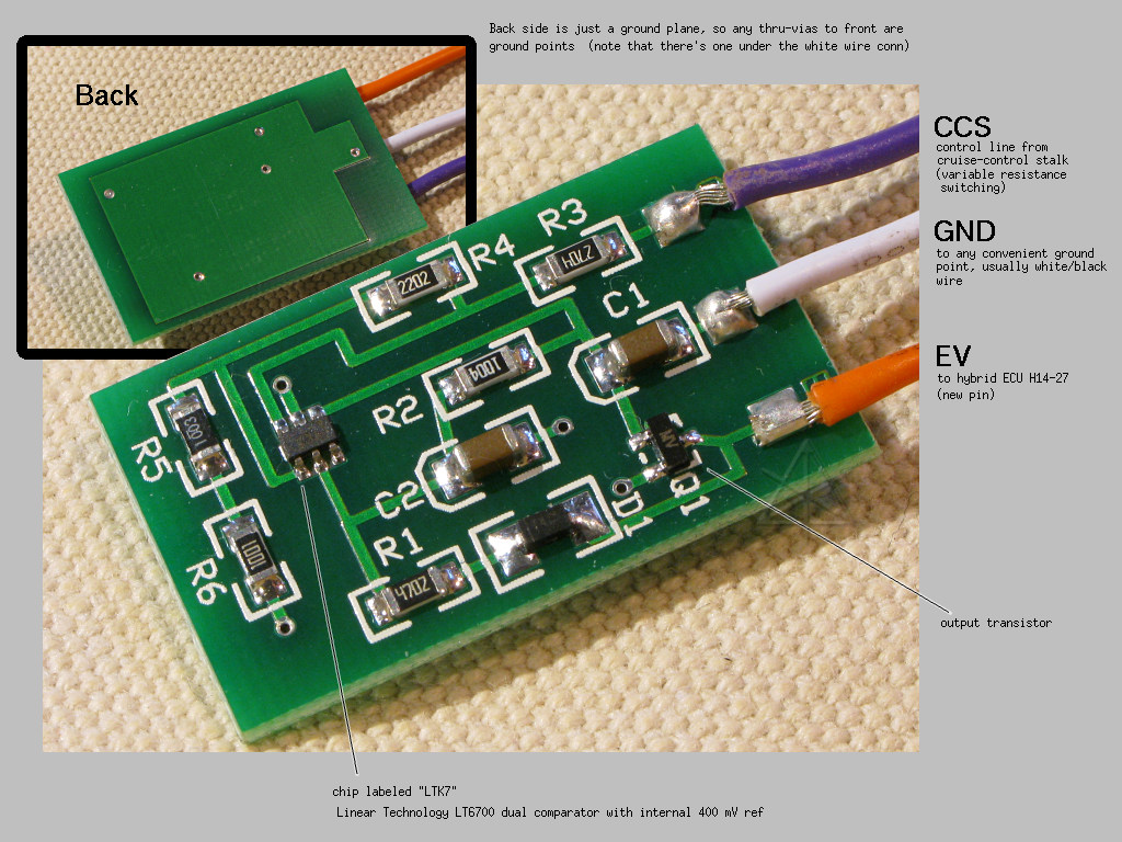 Prius Links Can Bus Questions Priuschat The Innards Of Coastal Etech Cruise Control Based Ev Mode Switching Circuit Uses A Micropower Comparator And Accumulates Enough Charge From Inputs